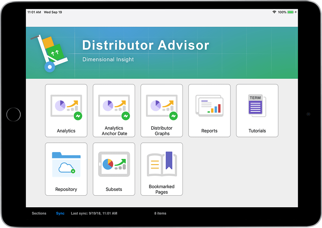 Distributor Advisor Main Menu