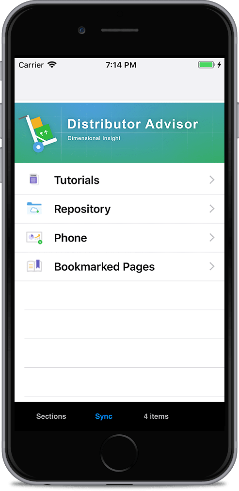 The initial view of Distributor Advisor has four options: tutorials, repository, phone and bookmarked pages.