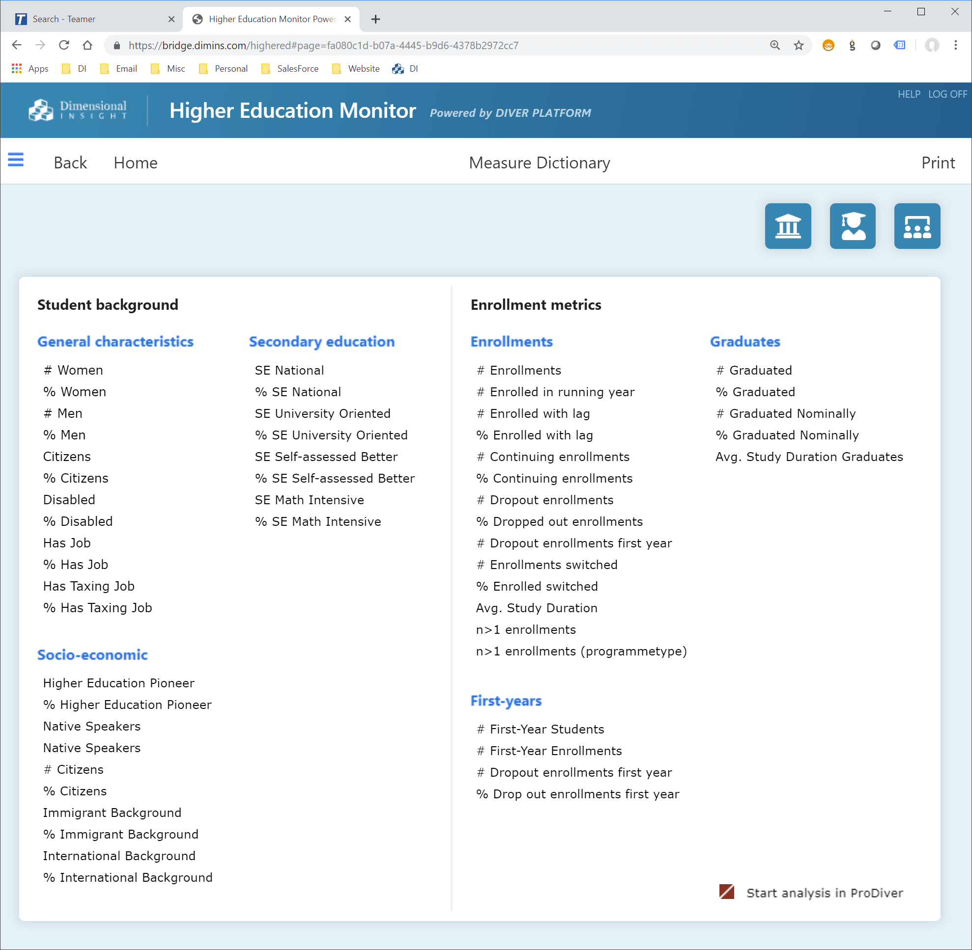 Measure Dictionary