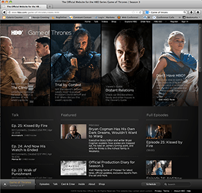 Screen capture of Game of Thrones Web Site Home Page
