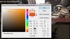 Figure 6: Use an eye dropper tool to select colors on the web page and record their R,G,B values.