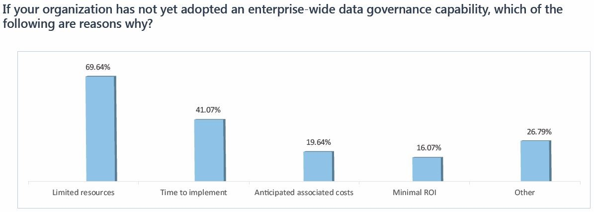 If your organization has not yet adopted an enterprise-wide data governance capability, which of the following are reasons why?