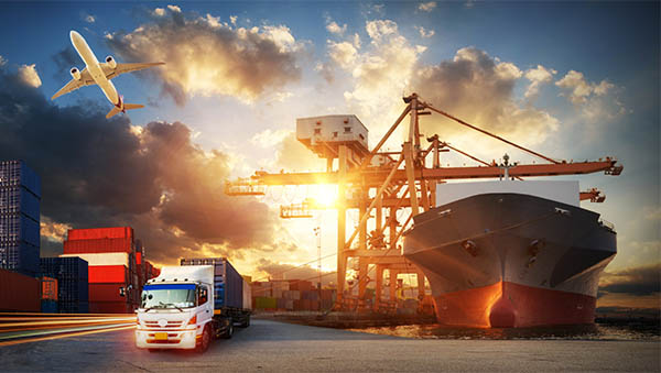 Container truck in ship port for business Logistics and transportation of Container Cargo ship and Cargo plane with working crane bridge in shipyard at sunrise, logistic import export and transport industry background